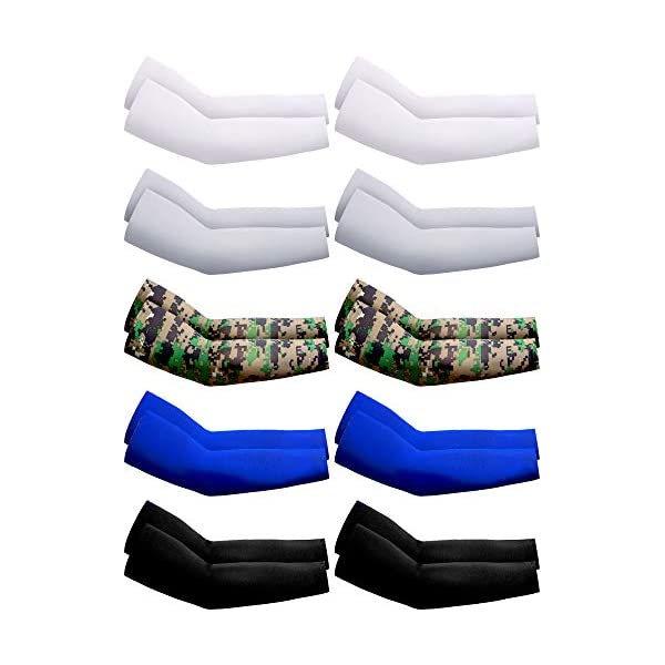 Boao 10 Pairs UV Protection Cooling Arm Sleeves Anti-Slip Ice Silk Arm Cover for...