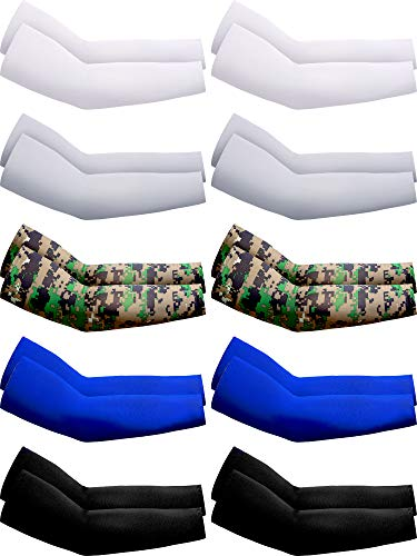 Boao 10 Pairs UV Protection Cooling Arm Sleeves Anti-Slip Ice Silk Arm Cover for Men (Classic Colors)