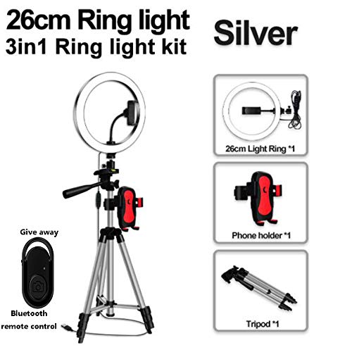 Ring Light, LED Ring Licht Met Tripod, Selfie Remote En Telefoon Standaard Voor Video Fotografie Makeup Youtube (10,2 Inch Ring Light),Silver