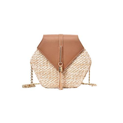 Mulit Style Straw+leather Handbag Women Summer Rattan Bag Handmade Woven Beach Circle Bohemia Shoulder Bag