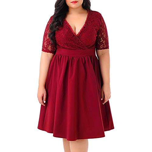 Xmiral Damen Kleid Einfarbig Kurzarm Spitze Spleiß Hohe Taille V-Ausschnitt Knielang Elegant Kleider Große Größe A-Linie Verein Abendkleid(Rot,5XL)