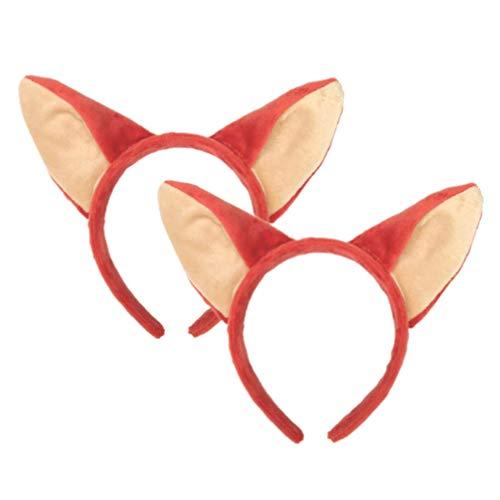 Amosfun 2 x Fuchs-Katzen-Ohren Stirnband Party Cosplay Kostüm Halloween Party Zubehör für Kinder Erwachsene