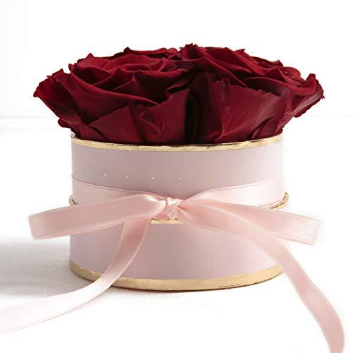 ROSEMARIE SCHULZ Heidelberg Flowerbox rund Infinity Rosen - Blumenbox in Rosa 4 konservierte Rosen (Rosa-Burgundy)