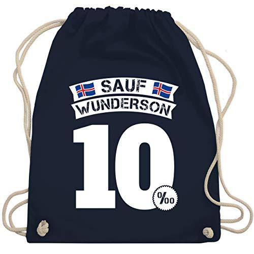 Shirtracer Party & Alkohol Herren - Sauf Wunderson - Unisize - Navy Blau - Karneval - WM110 - Turnbeutel und Stoffbeutel aus Baumwolle