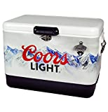 Koolatron Coors Light Stainless Steel Ice Chest with 85 Cans Capacity - 12v Travel Cooler with Bottle Opener, 2 Handles for Camping, Sports Games,Picnics and More, 54 Quarts, Silver (CLIC-54)