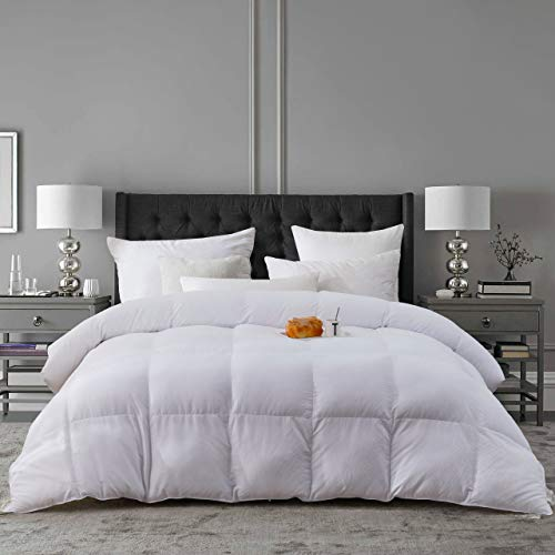 L LOVSOUL Down Alternative Comforter White Queen-Ultra Soft Brushed Microfiber-Hypoallergenic Plush Mircofiber Comforter Duvet Insert Queen-90x90Inches,White Checkered Embossing