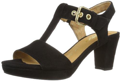 Gabor Shoes Damen Comfort T-Spangen Sandalen, Schwarz (schwarz (Gold), 40.5 EU