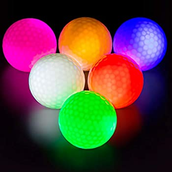 THIODOON Glow in the Dark Golf Balls Light up Led Golf balls Night Golf Gifts for Men Kids Women 6 Pack  6 Colors in one