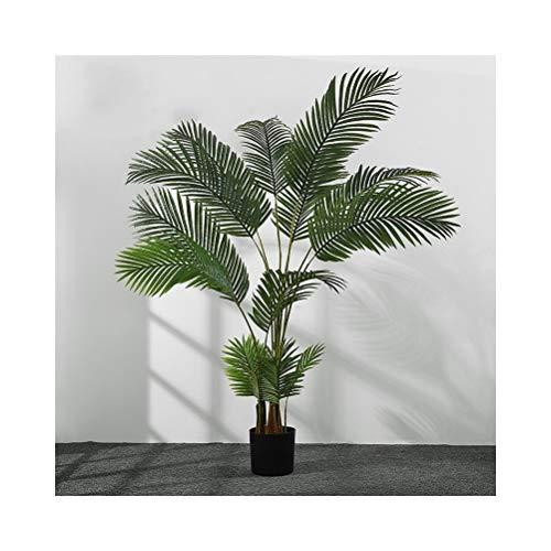 QUD Kunstmatig Landschap Plant Met Groene Bladeren, Binnen En Buiten Vloerstaande Simulatie Tropische Planten Met Zwarte Kunststof Basin 20/4/3