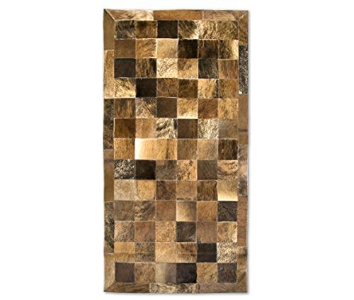 Zerimar Tapis Patchwork Naturel | Tapis en Cuir | Dimensions : 140x70 cm | Tapis de Salon Cuir | Tapis Décoration | Tapis Chambre à Coucher | Tapis Vache Cuir