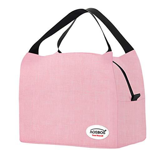 Kühltasche Klein Leicht Lunch Tasche Isoliertasche zur Arbeit Schule Faltbar Wasserdicht Reißverschluss 8,5L Rosa