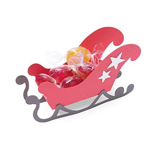 Sizzix Fustella Bigz Slitta di Babbo Natale 3D di Georgie Evans, Multicolore