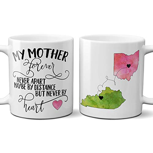 My Mother Forever Never Apart Long Distance Coffee Mug, State Ceramic Cup,...
