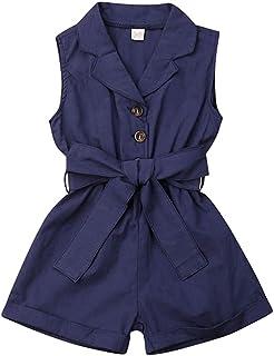 طفل الفتيات بلا أكمام بدوره أسفل طوق قطعة واحدة رومبير اللون الصلبة الفتيات بذلة وزرة ملابس الأطفال 1-6y (Color : Blue, Ki...