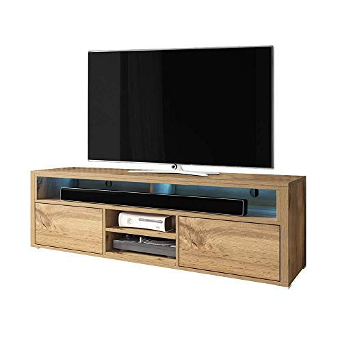 Selsey MARIO - TV Stand/Modern Entertainment Unit/Living Room TV Cabinet with Storage (140 cm, Wotan Oak with LED Lighting)