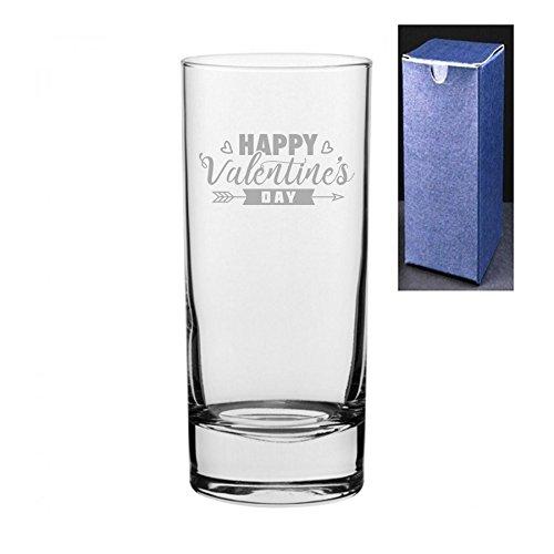 fantaisie gravé/imprimé Cocktail Highball Gin et Tonic Vodka Verre – Happy Jour de la Saint Valentin. Engrave A Personal Message On The Reverse Side Engraved