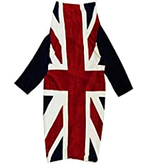 Idea Regalo - Loungeable Boutique Union Jack Lana di Pecora Morbida con Maniche TV Coperta - Blu