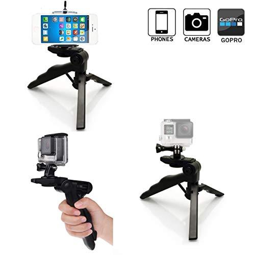micros2u 4 in 1 leichtes Mini-Handstativ, Tripod mit Pistolengriff. Ideal für Handy, Gopro Hero, Kamera, Actionkamera etc.