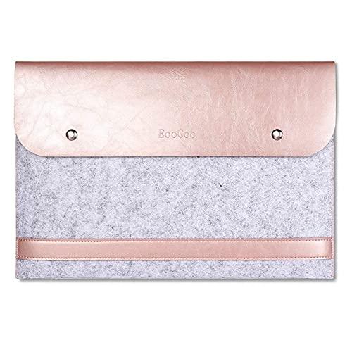EooCoo Funda Portátil Compatible con 2010-2017 Old MacBook Air 13 A1369 A1466, Old Macbook Pro 13 A1504 A1425, Laptop Sleeve con Cuero de Microfibra - Oro Rosa