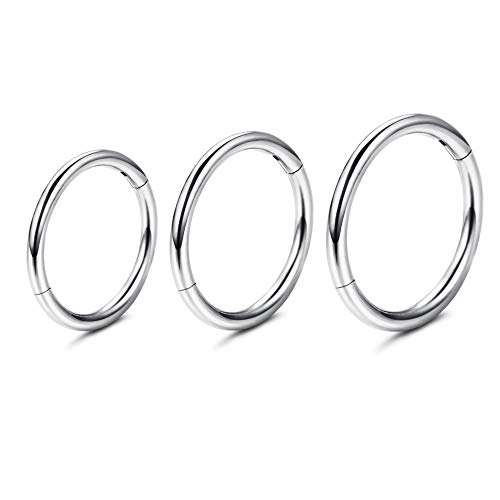 Milacolato 16G Sterling Silver Hinged Nose Hoop Rings Small Hoop Earrings Body Piercing Lip Rings Nose Helix Cartilage Rook Earrings for Women Men 6MM/8MM/10MM/12MM/14MM