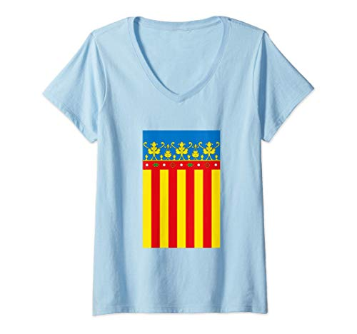 Mujer Flag Of Valencia Spain Souvenir Vertical Royal Senyera Camiseta Cuello V