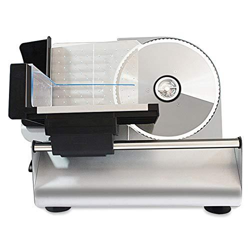 Allesschneider Brotschneidemaschine Elektrischer Edelstahl Lebensmittel-Schneidemaschine Für Verschiedene Lebensmittel, Deli Fleisch, Käse, Brot, Gemüse Schnitthöhe 0-15 Mm Ø Messer 19 Cm