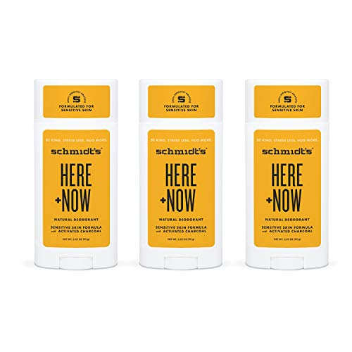 Schmidt's Aluminum Free Natural Deodorant for Women and Men, Here + Now for Sensitive Skin with 24 Hour Odor Protection, Certified Cruelty Free, Vegan Deodorant, 3.25 oz 3-pack