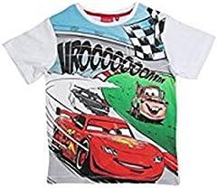 Camiseta Cars Disney para niños manga corta 100% algodón color Blanco 8 años