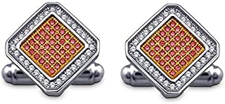 925 STERLING SILVER CUFFLINKS PAVE SETTING