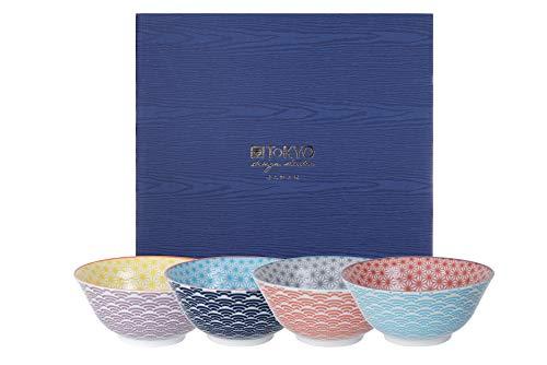TOKYO design studio, Star Wave, Set di 4 Ciotole Colorate, Ø 15 cm, ca. 500 ml, Porcellana Giapponese con Motivi Colorati, Confezione Regalo incl.