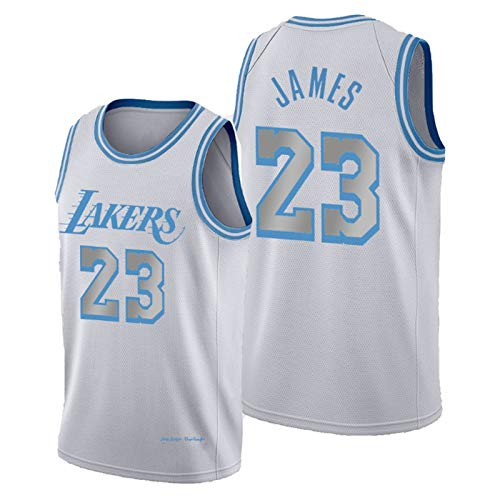 #23 Lebron James Trikots, Los Angeles Laker, Little Emperor Basketball-Trikot für Herren, 2021 Neue Saison Hot Press Mesh Atmungsaktives Gewebe Jersey, City Edition Gr. S, James 2