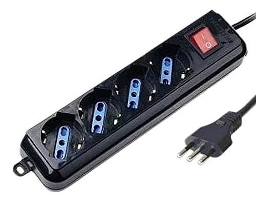 Techly iups-pcp-4bk 4sortie (S) AC 1,5 m zwarte stekkerdoos - stekkerdoos (zwart, 16 A, 2500 W, 1,5 m)