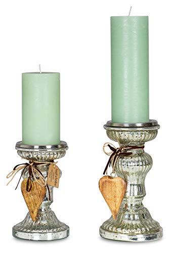 levandeo 2er Set Kerzenständer H21cm H17cm Kerzenhalter Tischdeko Kerzenleuchter Deko Glas