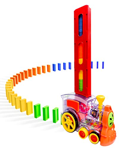 Domino Train POPUTOY 80 Pcs Domino Blocks Set Plastic Kids Domino Construction 4 Color Children Creative Toy Game Educational Play for 312 Year Old Boys and Girls