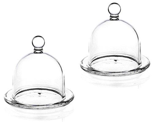 2 Glas Mini Käseglocken / Servierglocken