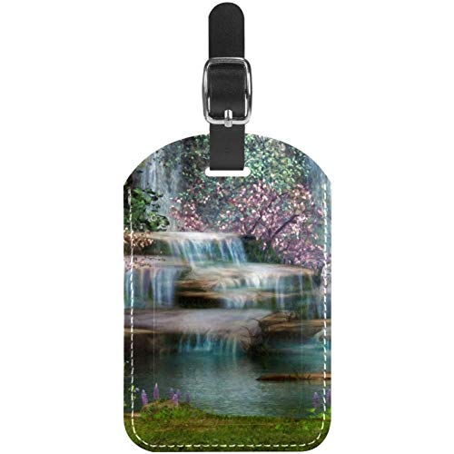 Luggage Tags Waterfalls Flowers and Trees Leather Travel Suitcase Labels 1 Packs