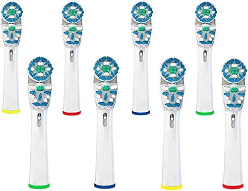 Omagek Elektrische Zahnbürstenköpfe kompatibel mit Braun für Oral-B elektrische Zahnbürste, Vitality Floss Action, Genius, Smart Series Pro, Triumph, Advance Power & Kids Zahnbürste (8)