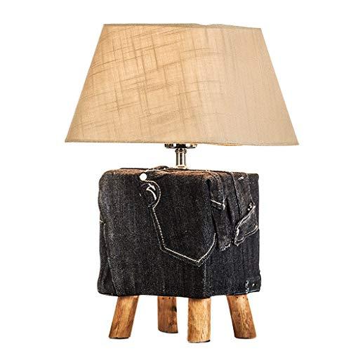 Lampes de table Chambre Lampe De Chevet Simple Moderne en Bois Chaud Nordique Décoration De La Maison (Color : Black, Size : 25 * 25 * 40cm)