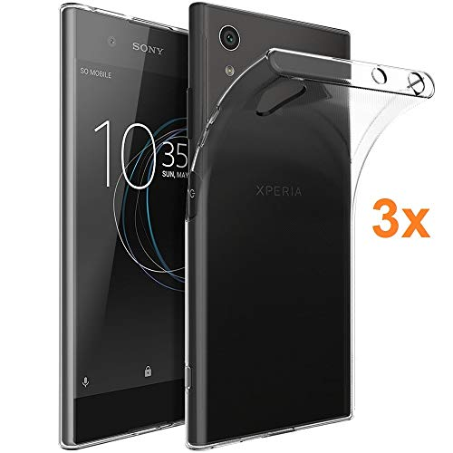 REY Pack 3X Transparente Silikonhülle TPU für Sony Xperia XA1 Plus - XA 1 Plus, Handyhülle Premium Kratzfest TPU Durchsichtige Schutzhülle, Superdünne 0,33 mm