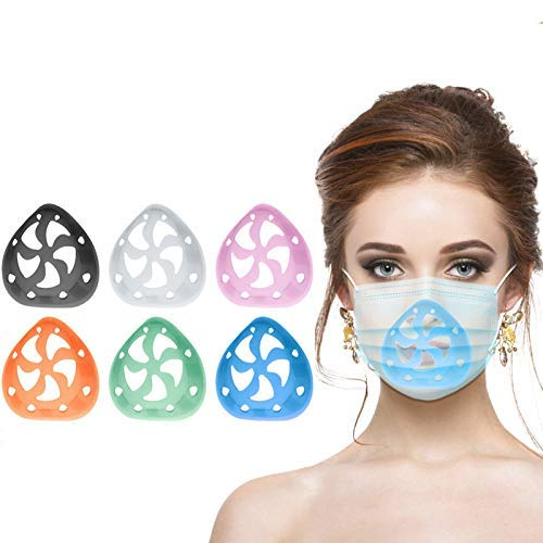 6PCS Mask Bracket,Lipstick Protection Stand 3D Silicone Face Cover Bracket Inner Support Bracket Increase Breathing Space, Helps To Breathe Smoothly