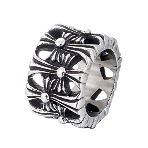 NA Gothic Extra Wide Cross Personality Titanium Steel Cast Men's Rings