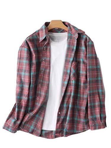 Brands Camisa de manga larga a cuadros de las mujeres de algodón versión convencional ocio