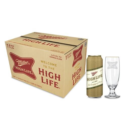 Cerveza Miller High Life 11 Latas de 710ml + Copa Cristal