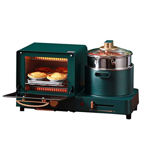 JDH 4 in 1 Electric Breakfast Station, Toaster Frying Pan 6L Mini Oven Bread Sandwich Pizza Maker 1.5L Hot Boiling Pot Steamer, for Household