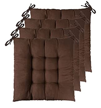 """ELFJOY Set of 4 Solid Square 16"""" x 16"""" Tufted Chair Pads Indoor Seat Cushions Pillows with Ties  Coffee"""