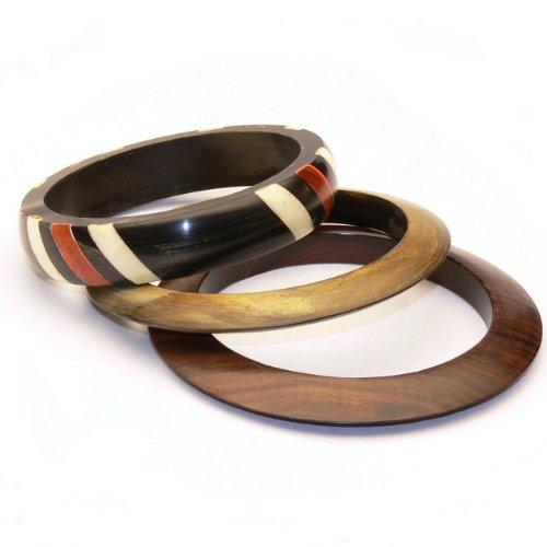 Franki Baker 3 Wood and Horn Bangle Bracelet Set. Diameter:6.5cm