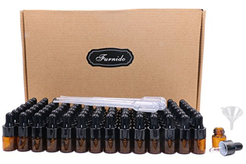 Pack of 100,2ml (5/8 dram) Amber Glass Dropper Bottle,Empty Sample Vial Glass Eye Dropper Aromatherapy Liquid Perfume Essential Oil Bottles with Glass pipette&Black Aluminum caps