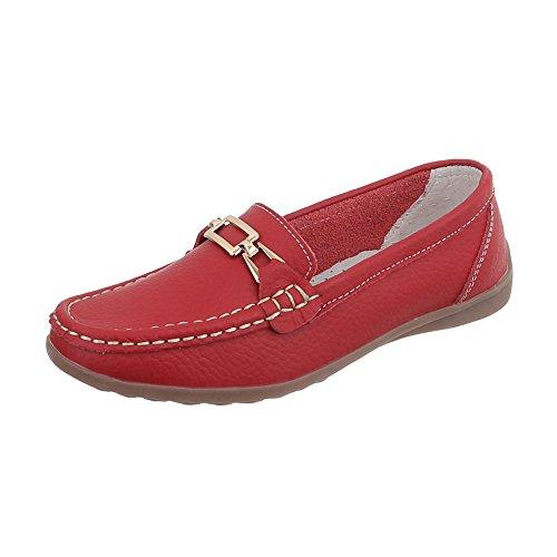 Ital Design Mokassins Leder Damen-Schuhe Mokassins Moderne Halbschuhe Rot, Gr 35, 0511-