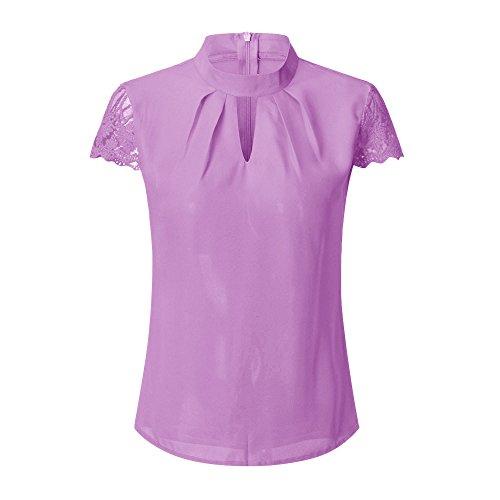 LuckyGirls Tee Shirts Femme Chic Mousseline Fleur Dentelle Patchwork Haut Épaules Nues Tops Décontractée Loose Blouse T-Shirts - Maxi - 5XL (XX-Large, Pourpre)