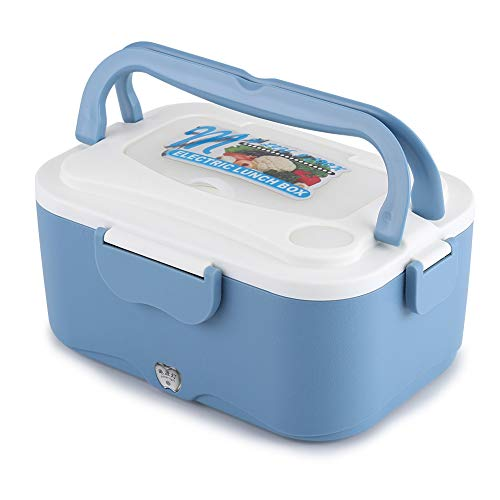 Car Electric Heating Lunch Box, 1.5L Food Warmer for Cars Trucks Electric Bento Box for Heating Lunch for Traveling, 12/24V (12v-Blue)